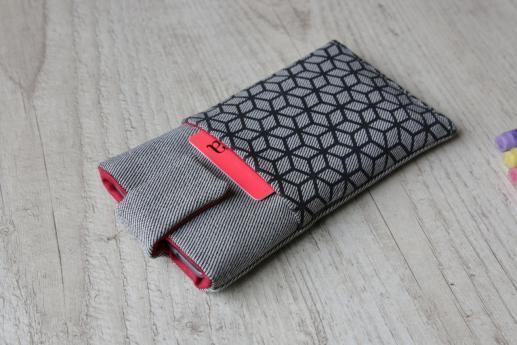 Samsung Galaxy M10 sleeve case pouch light denim magnetic closure pocket black cube pattern