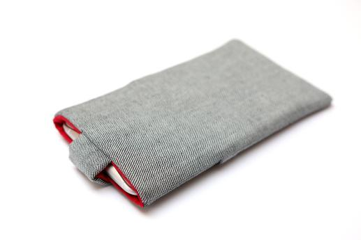 LG Nexus 4 sleeve case pouch light denim magnetic closure pocket red ornament