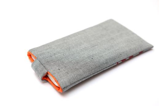 LG V10 sleeve case pouch light denim magnetic closure red ornament