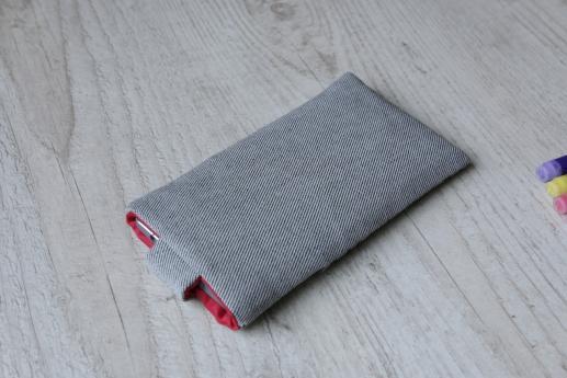 Xiaomi Mi CC9e sleeve case pouch light denim magnetic closure pocket black cube pattern