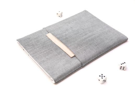 Apple iPad 10.2 case sleeve pouch light denim with pocket