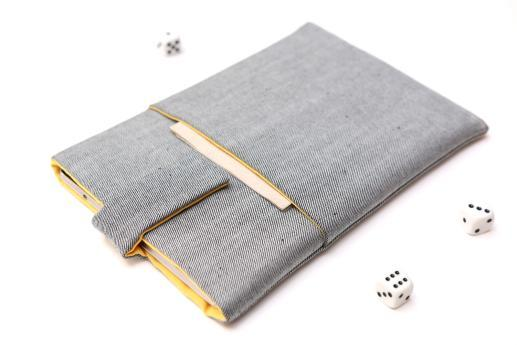 Apple iPad Mini (2019) case sleeve pouch light denim with magnetic closure and pocket