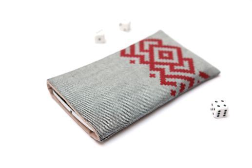 Motorola Moto E sleeve case pouch light denim with red ornament