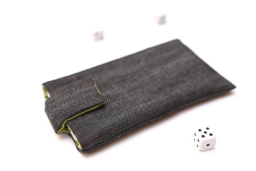 Samsung Galaxy A11 sleeve case pouch dark denim with magnetic closure