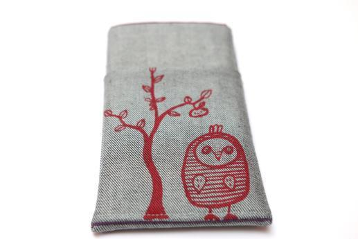 Motorola Nexus 6 sleeve case pouch light denim pocket red owl