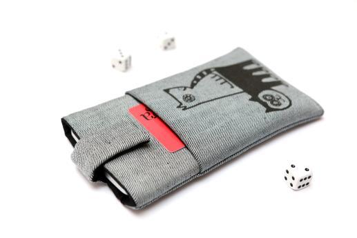 Apple iPhone 12 mini sleeve case pouch light denim magnetic closure pocket black cat and dog