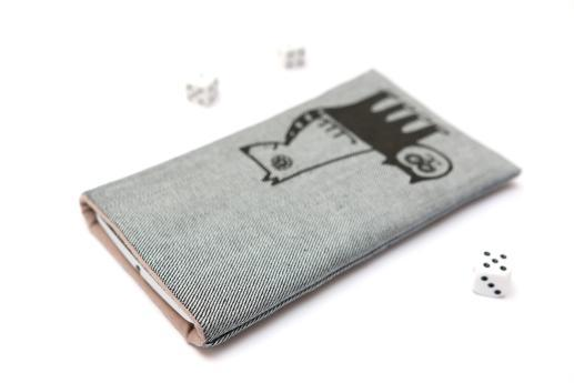 Motorola Moto G4 sleeve case pouch light denim with black cat and dog