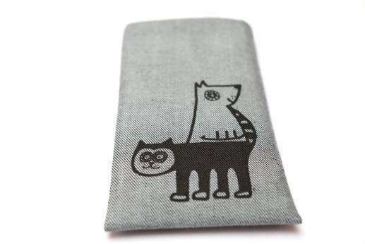 Motorola Nexus 6 sleeve case pouch light denim with black cat and dog