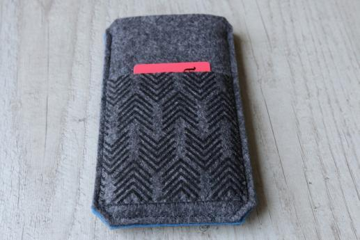Motorola Moto G 2014 sleeve case pouch dark felt pocket black arrow pattern