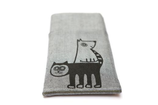 Sony Xperia Z2 sleeve case pouch light denim pocket black cat and dog