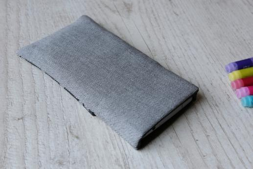 Sony Xperia Z2 sleeve case pouch light denim pocket black cube pattern