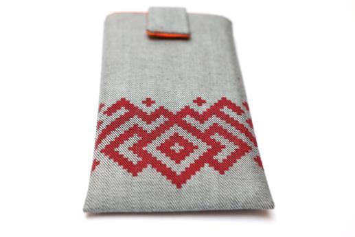 Xiaomi Redmi 2 sleeve case pouch light denim magnetic closure red ornament