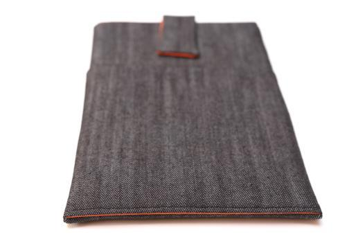 Apple iPad Mini 2 case sleeve pouch dark denim with magnetic closure and pocket