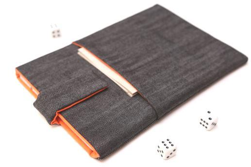 Apple iPad Mini case sleeve pouch dark denim with magnetic closure and pocket