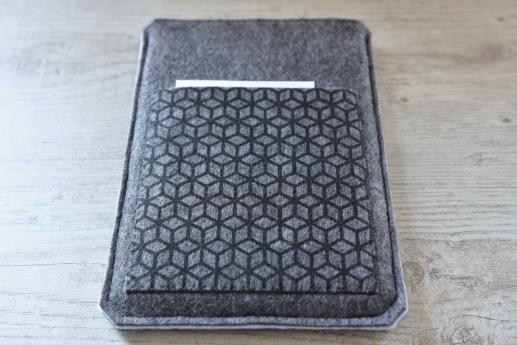 Apple iPad Air case sleeve pouch dark felt pocket black cube pattern