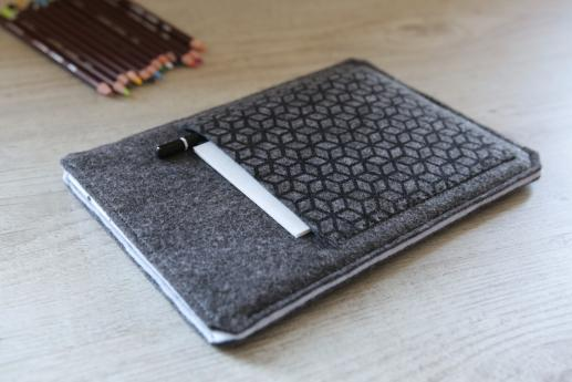 Apple iPad Mini 2 case sleeve pouch dark felt pocket black cube pattern