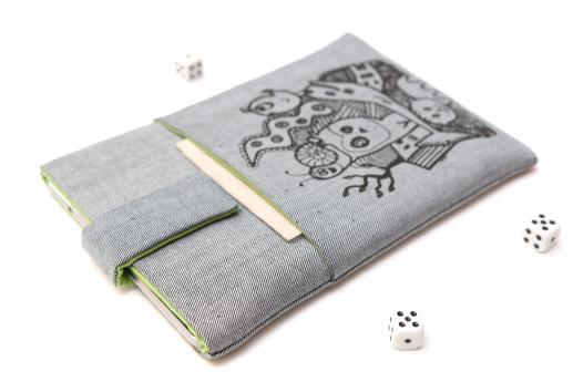 Apple iPad Mini 4 case sleeve pouch light denim magnetic closure pocket black animals