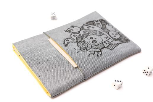 Apple iPad Mini 4 case sleeve pouch light denim pocket black animals