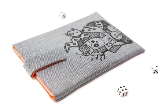 Apple iPad Mini 4 case sleeve pouch light denim magnetic closure black animals