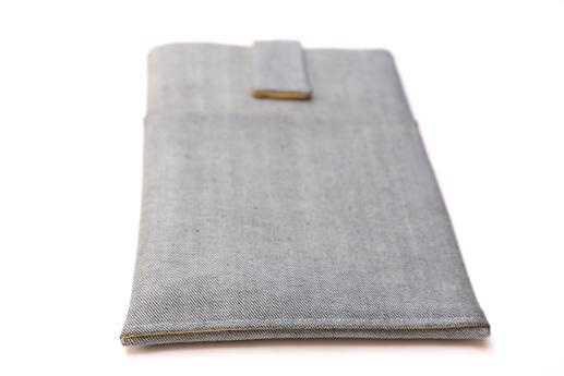 Fire HD 8 case sleeve pouch light denim with magnetic closure and pocket