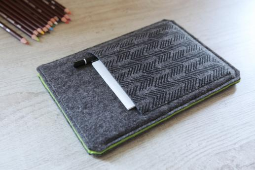 Kindle Fire HDX case sleeve pouch dark felt pocket black arrow pattern