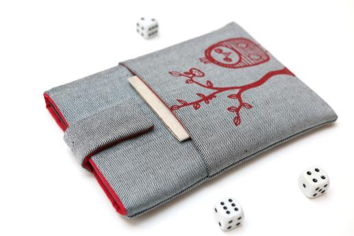 Kindle Voyage sleeve case ereader light denim magnetic closure pocket red owl