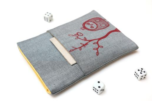 Kindle Paperwhite sleeve case ereader light denim pocket red owl