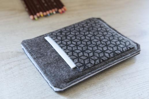 Kindle Paperwhite sleeve case ereader dark felt pocket black cube pattern