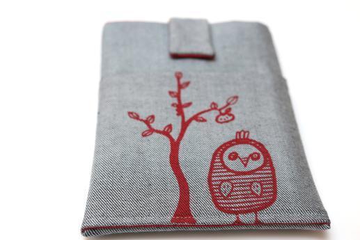Kobo Mini sleeve case ereader light denim magnetic closure pocket red owl