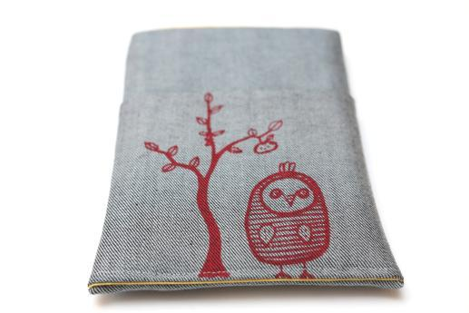 Kobo Mini sleeve case ereader light denim pocket red owl