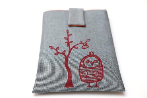 Kobo Mini sleeve case ereader light denim magnetic closure red owl