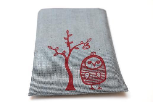 Kobo Mini sleeve case ereader light denim with red owl