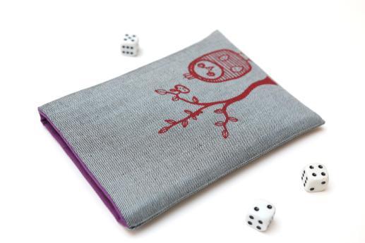 Kobo Glo HD sleeve case ereader light denim with red owl