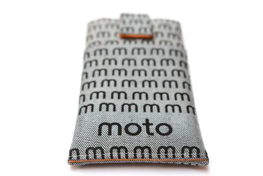 Motorola Moto G4 Play sleeve case pouch light denim magnetic closure pocket black moto pattern