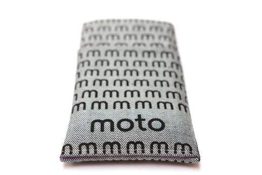 Motorola Moto G4 Play sleeve case pouch light denim pocket black moto pattern