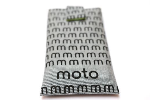 Motorola Moto G5 sleeve case pouch light denim magnetic closure black moto pattern