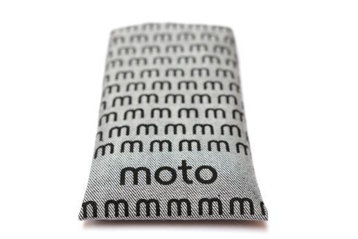 Motorola Nexus 6 sleeve case pouch light denim black moto pattern