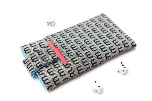 Motorola Moto X Play sleeve case pouch light denim magnetic closure pocket black M pattern