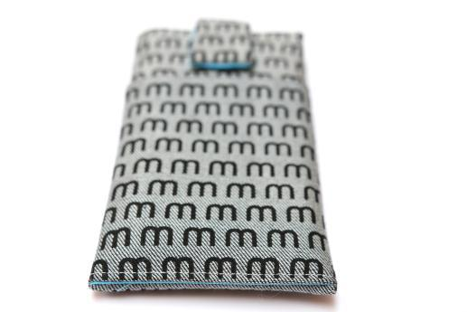 Motorola Moto G 2014 sleeve case pouch light denim magnetic closure pocket black M pattern