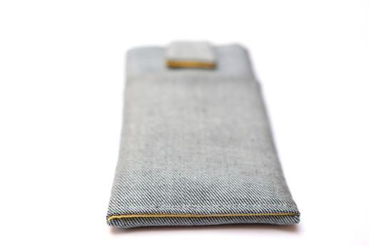 HTC One M8 sleeve case pouch light denim with magnetic closure and pocket