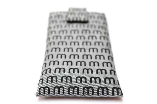 Motorola Moto Z Force sleeve case pouch light denim magnetic closure black M pattern