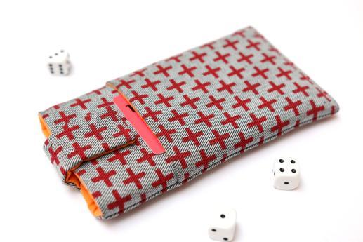 OnePlus One sleeve case pouch light denim magnetic closure pocket red plus pattern