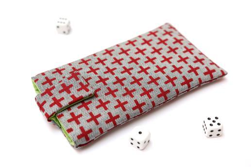 OnePlus One sleeve case pouch light denim magnetic closure red plus pattern
