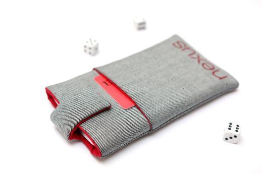 LG Nexus 5X sleeve case pouch light denim magnetic closure pocket red Nexus logo