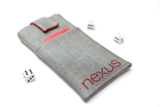 LG Nexus 4 sleeve case pouch light denim magnetic closure pocket red Nexus logo