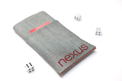 LG Nexus 4 sleeve case pouch light denim pocket red Nexus logo