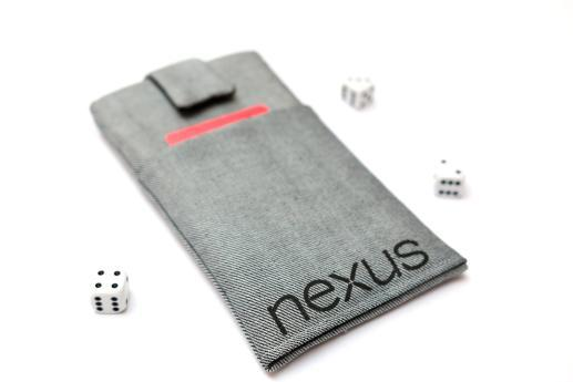 LG Nexus 4 sleeve case pouch light denim magnetic closure pocket black Nexus logo