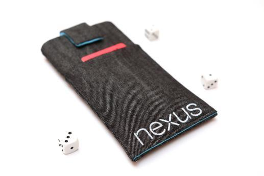 Motorola Nexus 6 sleeve case pouch dark denim magnetic closure pocket white Nexus logo