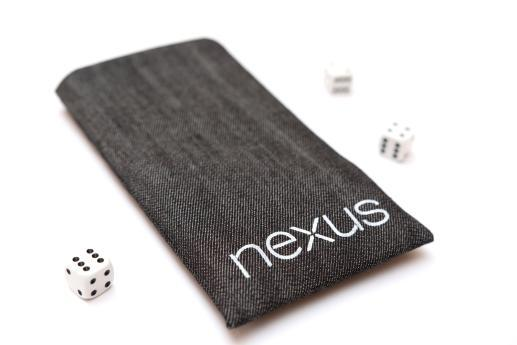 Motorola Nexus 6 sleeve case pouch dark denim white Nexus logo