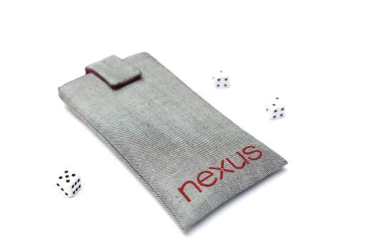 Motorola Nexus 6 sleeve case pouch light denim magnetic closure red Nexus logo